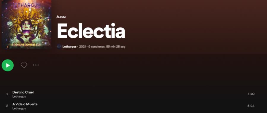 Eclectia, el segundo CD de Lethargus, ya en Spotify